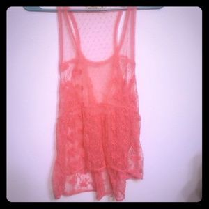 Hollister sheer lace high low tank size medium
